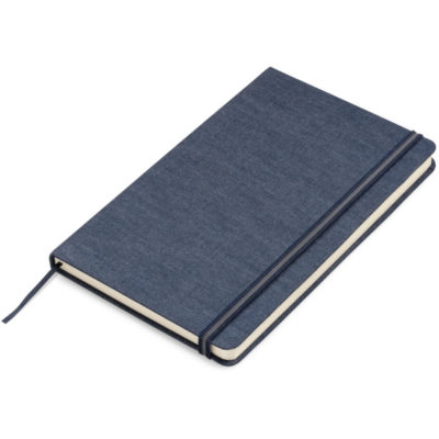 The Jean A5 Notebook is a denim notebook with 192 lined pages, a ribbon bookmark and elastic closure