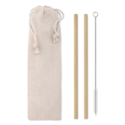 The Bamboo Straws contains two reusable bamboo straws, a stainless steel and nylon cleaning brush that all comes in a cotton pouch.