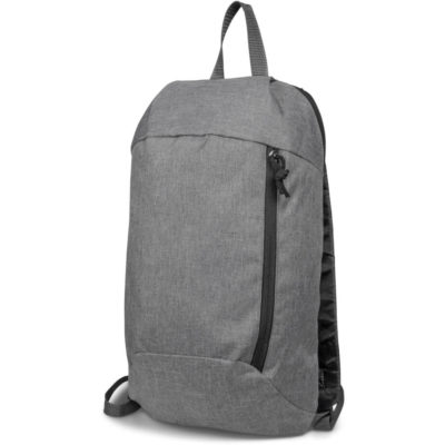 The Beat-It Backpack is a grey bag made from 300D polyester. With two zip compartments and black zips. Adjustable and padded shoulder straps with a carry handle