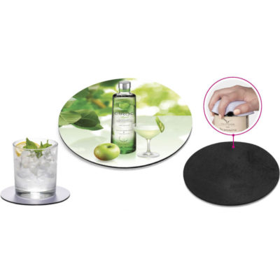 The Merriment Coaster & Jar Opener displaying showing its anti slip quality and being used a coaster