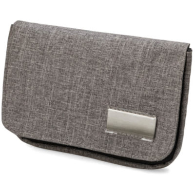 The Tekie Pouch can be used as a wallet, has a number of compartments in it that can be used to hold money and cards, it also has a metal badge on the front where your branding can go, making this the perfect everyday item. Colour: Grey