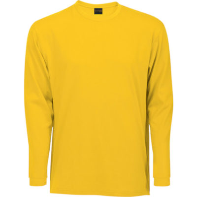 The 170g Yellow Barron Long Sleeve T-Shirt Features Double Fold Cuffs, Side Slits, 1 x 1 neck Rib Neckline With Top Stitching And Generous Cut.