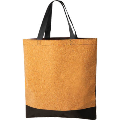 The Bondi Cork Shopper is made from cork and 420 denier in a neutral colour with black detailing