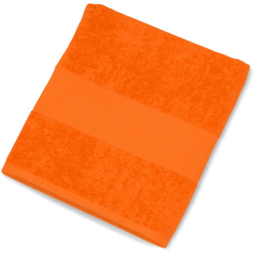 The Bahamas Beach Towel is a velour orange beach towel, large in size and bright in colour