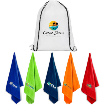 The US Basic Bahamas Beach Towel Display to show the various coloours available and the drawstring carry bag