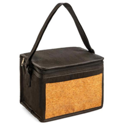 The Bondi Cork Coller made from cotton with a zippered closure, can hold up to 6 cans and is lined with silver lining. With a cork panel insert on the front