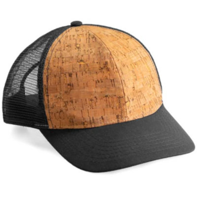 The Bondi Cork Cap is a polyester peak cap with a pre curved peak and a cork panel on the front of the cap