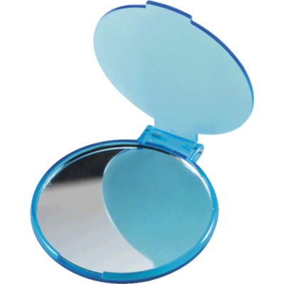The Pocket Mirror Is Made Of Plastic And Contains A Glass Mirror Round In Shape And Compact In Size. Colour: Pale Blue. Display Image.