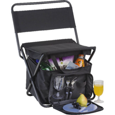 The Picnic Chair Cooler with 2 Person Picnic Set Is Foam Insulated PVC Lining, Collapsible For Easy Storage, Has A Folding Steel Frame And A Back Rest. The Picnic Set Includes 2 Plates, 2 Knives And 2 Forks. Colour: Black. Display Setup Layout.
