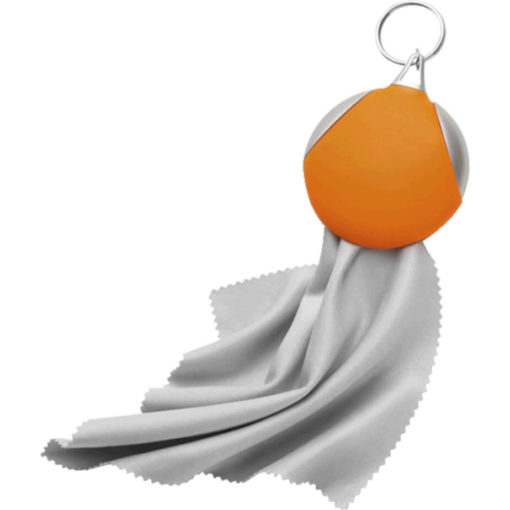The Keychain with Recycled Fibre Cloth Is A Vinyl Covered Keychain That Also Consists Of A Plastic Material. Colour: Orange.
