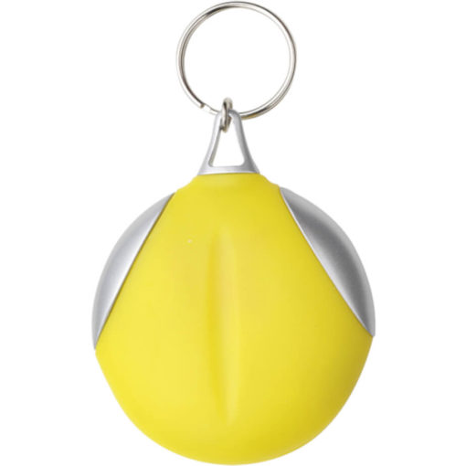 The Keychain with Recycled Fibre Cloth Is A Vinyl Covered Keychain That Also Consists Of A Plastic Material. Colour: Yellow.