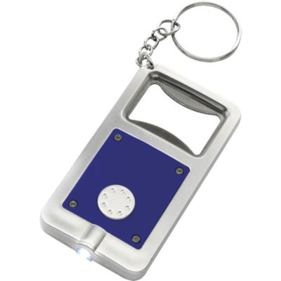 The Keychain with Bottle Opener and LED Light Is Made Of Plastic And Comes With Batteries Included. Colour: Blue.