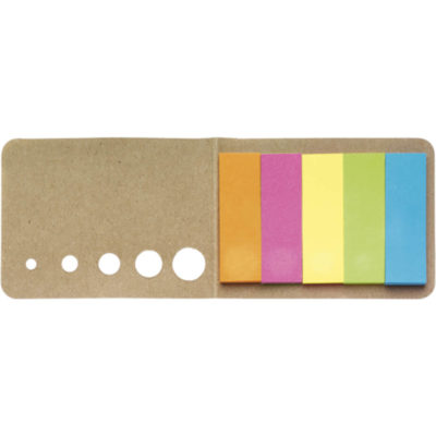 The Holder with Sticky Notes Contains Self-Adhesive Tabs Of Five Different Colours, Twenty Sheets. Card Cover Exterior. Colour: Brown. Layout Display.