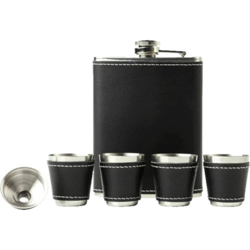 The Hip Flask Gift Set Contains 4 Shot Glasses And A Funnel, Is Made Up Of A Stainless Steel And Plastic Exterior And Is Black With Contrast White Stitching.