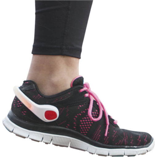 The Flashing Ankle Band Made Up Of Silicone & Plastic With An LED Light With Two Blinking Functions And An On And Off Switch, This Item Comes With Batteries. Pink And Red. Example Display.