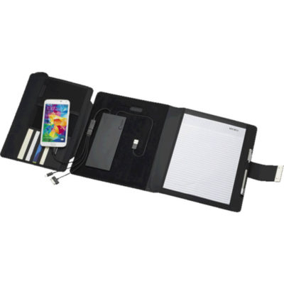 The Executive Folder with Removable 5000mAh Power Bank has a white lined writing pad on the inner right side and a place to store cards, a pen loop and a buckle to close.