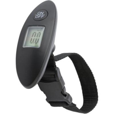 The Digital Luggage Scale Has An On And Off Button, A Wirst Strap And Batteries Included. Colour: Black.