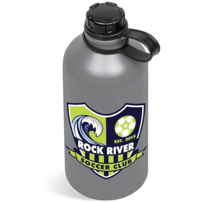 The Grey Ava Bottle is a cylindrical water flask with a black lid connected to the bottle and comes in grey