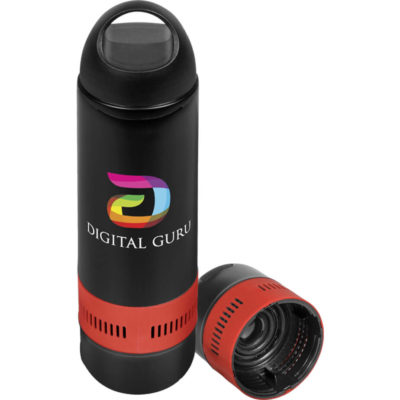 The Bandit Deluxe Water Bottle & Bluetooth Speaker is a black plastic bottle with a stainless steel liner and a removable base with an red silicone band to reveal a Bluetooth speaker