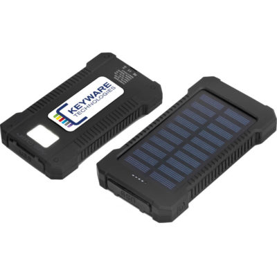 The Swiss Cougar Rome Solar 8000mAh Power Bank is a black charging device that includes a micro USB cable and uses a lithium polymer battery