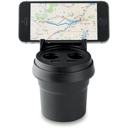 The Practical Phone Holder Charger comes in black. On display, phone not included