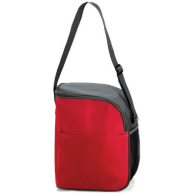 Red and black cooler bag with adjustable strap, mesh pocket on the side and front pocket.