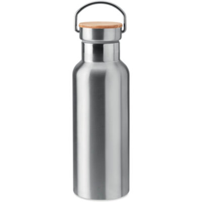 Silver stainless steel 500ml flask with bamboo lid