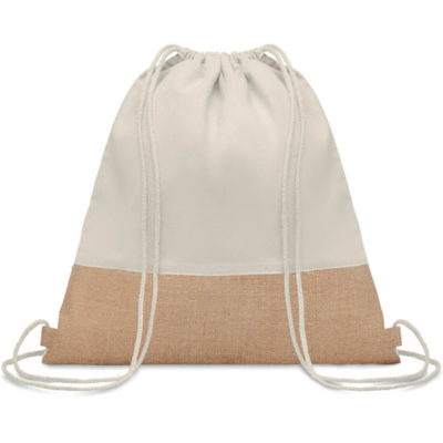 A Cotton Jute String Bag with jute details and in a natural colour