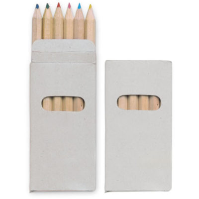 Open and closed sample of 6 different colour pencils in carton box.