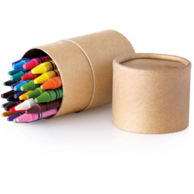 Side facing carton tube made from paper open with 30 different colour wax crayons inside
