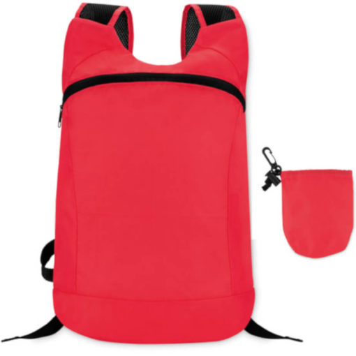 Red jogger bag with two straps and a big front zipper compartment. Comes with a detachable pouch.
