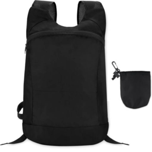 Black jogger bag with two straps and a big front zipper compartment. Comes with a detachable pouch.