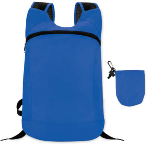 Blue jogger bag with two straps and a big front zipper compartment. Comes with a detachable pouch.