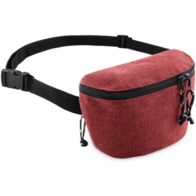 Red semi-rectangular moon bag with 2 compartments on each side.