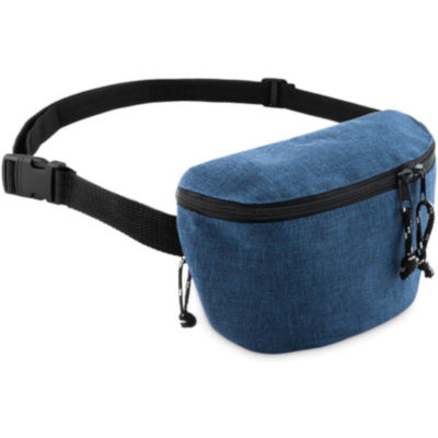 Blue semi-rectangular moon bag with 2 compartments on each side.