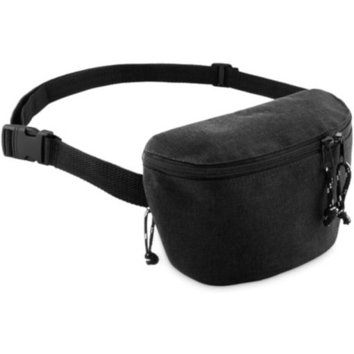 Black semi-rectangular moon bag with 2 compartments on each side.