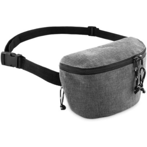 Grey semi-rectangular moon bag with 2 compartments on each side.
