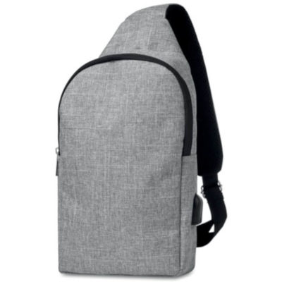 Grey oval rectangular satchel bag from polyester with one strap
