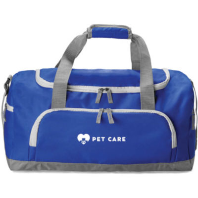 Royal Blue Club Sports duffel bag made from 600D polyester with adjustable velcro straps.