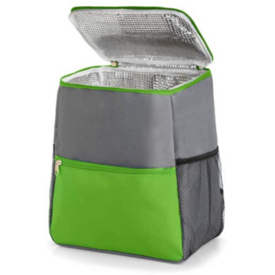 Lime Green Backpack Cooler Open With Mesh Pockets