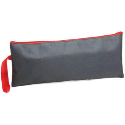 The Claro Pencil Case is a grey Pencil Bag With Red Zip And Tag