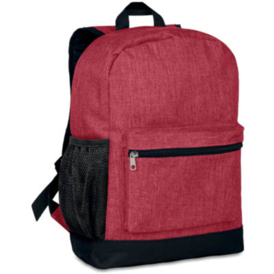 The 2 Tone Backpack has a black zip, black bottom area and black mesh side pockets with black straps. It has a rounded top area and the front pocket is sleek. This rest of the backpack is red.