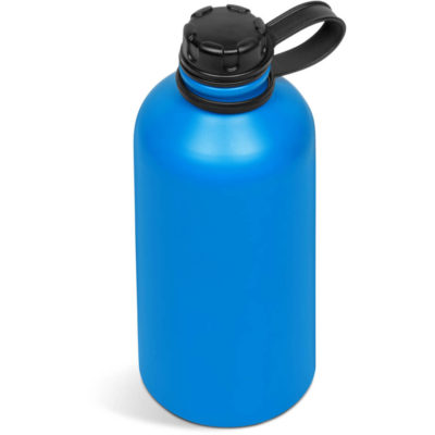 The Grey Ava Bottle is a cylindrical water flask with a black lid connected to the bottle and comes in blue.