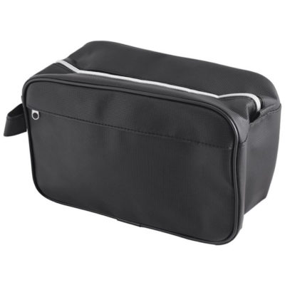 The Gents Toiletry Bag made from PU. With a main zip compartment thats padded, with a front zip pouch and a carry handle