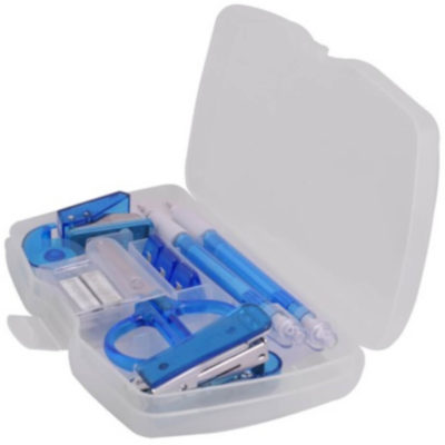 The Rectangle Stationery Set is a transparent case that contains basic items such as a pen, pencil, scissors, stapler, punch, sticky tape, staples and a paper clips