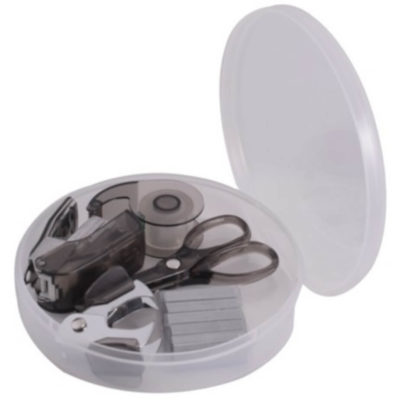 Round Stationery Set open with all stationery objects present