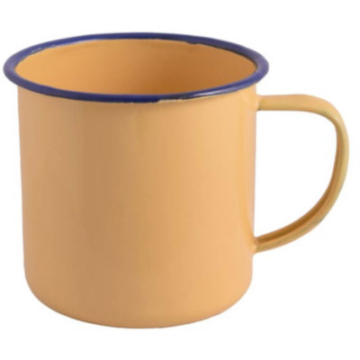 Yellow Enamel Mug With Blue Rim