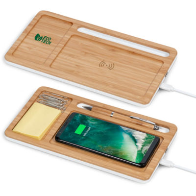 Bamboo rectangular Desk Organizer with Wireless Charger For Phone