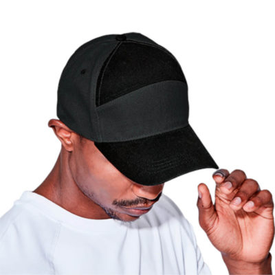 The 6 Panel Graphite Cap worn by a model to display the top view of the two tone display