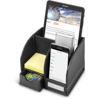 The Carrington Executive Desk Organiser is a PU accessory with storage room for your phone and tablet, notepad and storage drawer for paper clips